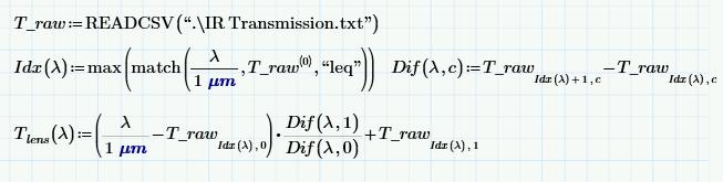 Custom linear interpolation with MathCAD